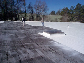 Smooth Built Up Roof After Coating Application Complete